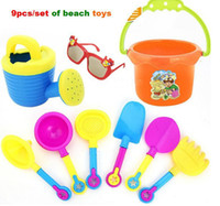 Wholesale set Baby Sand Playing Tool Beach Toys Buckets glasses watering can