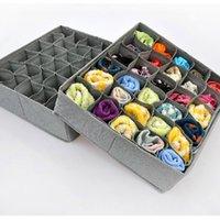 Plegable 30 células de la ropa interior de carbón de bambú lazos corbata Bra Calcetines cajón organizador del armario de almacenamiento Box envío gratuito