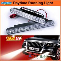 Cheap Universal 9-30V Waterproof Auto Car Truck Van Daytime Running Light Head Lamp White 2*28 LED DRL Daylight Kit ( LA-590)