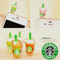 Wholesale Starbucks Coffee Cup Earphone Jack Dustproof Ear Cap Plug Anti dust Stopper for iphone G S G