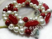 aa ruby - new Fashion Style diy mm AA White Color South Sea Shell Pearl Red Ruby Oval Jade Necklace quot A029