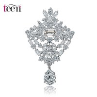 arrival crystal store - Teemi Jewelry Store New Arrival Flower Brooches Pins Bouquet European Style Clear Cubic Zircon Wedding Bridal Apparel Accessories