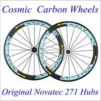 Wholesale 50mm Carbon Wheels Cosmic Road Bike C Cycling Wheelset With Novatec Hubs K Weave Matt Blue Decal Carbon Wheel