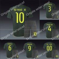 Wholesale Brazil third black uniforms football kit neymar pele ronaldinho marcelo oscar ronaldo thiago silva