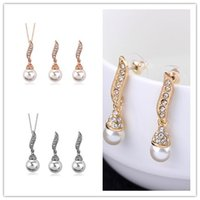 Wholesale pearl necklace Jewelry Sets Luxury Naked pearl Earring Necklace Sets Sterling Silver with Platinum Plated