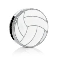 Wholesale Spacer Slider Beads Volleyball Silver Tone Fits mm x mm Cord Enamel White About mm quot Dia new