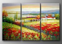 Wholesale hand painted traditional pastoral oil painting Spring flowers field hill landscape canvas wall art unique present of home