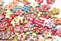 beauty sewing bag - 100pcs bag DIY wooden buttons beauty flower shape DIY sewing clothes button for craft scrapbooking sewing accessories