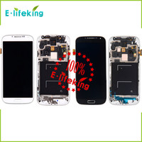 Wholesale Excellent For Samsung Galaxy S4 I545 I337 M919 L720 Lcd Digitizer Displaiy Screen Assembly Blue or white with Frame