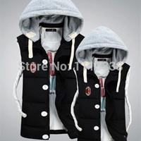 ac vest - Fall AC Milan Winter Hooded Cotton Vest Casual Jacket L XL XXL XXXL