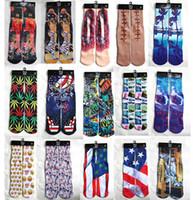 Cheap 2015 New Fashion Sport Stockings 100pcs=50pairs Printed Socks Adult people Men's Women's 3D Unisex Stocking Soft Cotton Sock ODD SOX SOCKS