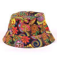 Wholesale Bucket Hats New Fashion Summer Bohemian Style Flower Letter Printed Fisherman Flat Sun Hats Travel Caps for Women Girls Bucket Hat