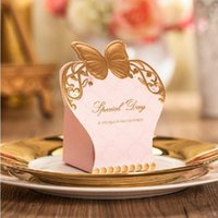 Wholesale Lovely Gold Pink Wedding Favors Candy Boxes Paper Wedding Box Gift Boxes Baby Shower