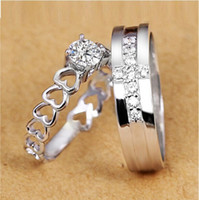 mens diamond ring - 2 Engagement Wedding Silver Ring Heart Women Simulated Diamond Jewelry Cross Mens Rings Ulove J391