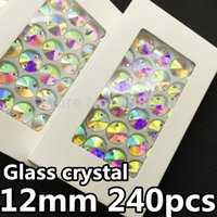 sewing box - 240pcs box MM round Rivoli Sew on Rhinestone Crystal AB Color Flatback holes sewing Crystal buttons