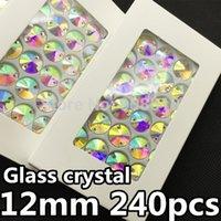 Wholesale 240pcs box MM round Rivoli Sew on Rhinestone Crystal AB Color Flatback holes sewing Crystal buttons
