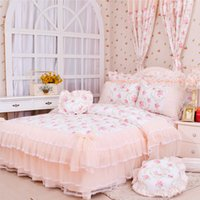Cheap Girls bed set Rustic princess lace bedding bedspread 100% cotton bed skirt queen king size duvet cover