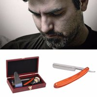 battery electric knife - New arrival Straight Razor Shaving Knife Brush and Leather Strop Wood Handle Box Kit Top Quality