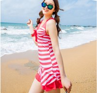 Cheap new 2015 stripes Hot spring bathing suit steel tower skirt boxer belly conjoined conservative south Korean beach bathing suit