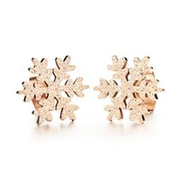 Wholesale Classic Jewelry New Snowflake Earrings for Women Korean Style Rose Gold Plated Steel Stud Earrings Best Christmas Gift HD296