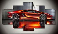 al por mayor artes de la pared naranja-Wall Art Picture 5 Panel fresco naranja reflexivo coche deportivo grande HD pintura de la impresión de la lona para la decoración de la sala de estar F / 899