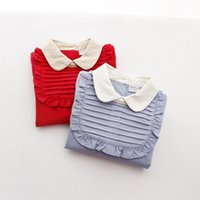oxford shirts - Girls shirt Lapel Oxford spinning baby unlined upper garment Black fungus Europe