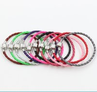 Copper diy - 57Colors New Pandora Single silver Leather Bracelets Chains Fit European Charm Beads cm cm cm Jewelry DIY