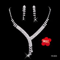 hot plate - Hot Sale Fashion Rhinestone Fashion Necklace Earring Sets Bridal Accessories Jewelry for Wedding Party Evening Prom In Stock Cheap