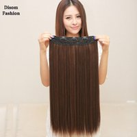 Wholesale hot sale cm quot hair extension clips in women synthetic Hair Extensions pc hairpieces g Long black hair