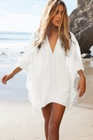 beachwear coverups - New Beach Cover up Cotton V neck Bikini Women Swimsuit Beachwear Beach Tunic Sarong Bathing Suit Coverups