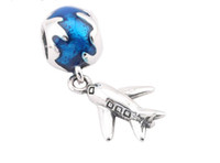 Silver airplane blue - 100 Sterling Silver Charms Ale Blue Enameled Earth Dangled Airplane Charms for Pandora Bracelets DIY Beads Accessories
