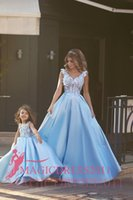 amazing daughter - Amazing Blue Evening Dresses Mother and Daughter Formal Prom Gowns Special Occasion Dress A Line V Neck Appliques Arabic Celebrity