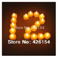 Wholesale 50pcs Led Candle LED Smokeless flameless Battery Amber Tea Light Wedding Birthday Party Christmas Decoration candles