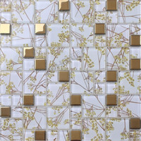 Wholesale express shipping free glass mosaic tiles golden color for bathroom wall tiles living room wall mosaic tile