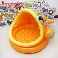 plastic tubs - 2016 Newest Home inflatable Baby bath tub for years old kids playing water big fish mouth PVC inflatable bathtub children swimming gear