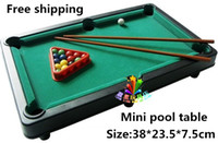 Wholesale Puzzle MINI POOL TABLE Flocking desktop simulation billiards billiards table sets children s play sports balls Sports Toys