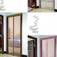 Wholesale New Pink Coffee Beige Delicate Anti Bug Fly Mosquito Net cortinas Magnetic Home Door Curtain Magic Screen cm order lt no track