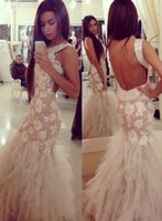 best maternity wedding dresses - New Arrival Tulle Embroidery Formal Wedding Gowns Mermaid Evening Dresses Backless W4475 Modern Layered Stunning Custom Made Lace Best