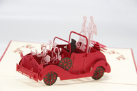 pop up birthday card - Red D Wedding Carriage with Lovers Personalized Handmade D Greeting Cards POP UP Cards