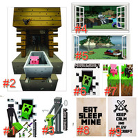 Wholesale 2016 Minecraft Wall Stickers Party Decoration Enderman Creeper Wallpaper D Decorative Wall Decal Bedroom Decoration Minecraft toys L