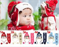 Wholesale Winter baby Hat Scarf Keep Warm Cap Children Earflap Warm hat Boys and Girls Add Wool Knitting Christmas Snow Cap