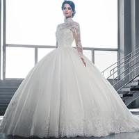 achat en gros de col haut robes de bal-Robe de mariée Robes de mariée en satin de mariée