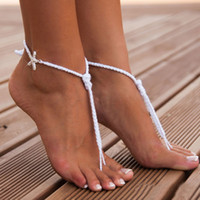 Wholesale Crystal Sandals For Women - 2016 Sandbeach Barefoot Sandals Cheap Stretch White Hemp Rope Anklet Chain With Crystal Star For Wedding Bridal Bridesmaid Foot Jewelry