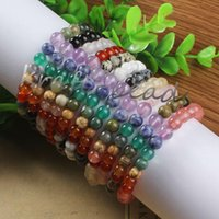 Beaded, Strands precious jewelry - Charm natural mixture precious stone Round Shape Beads Stone chakra healing Bracelets Jewelry Gift
