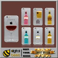 red red wine - For Phone Case for iPhone quot Plus s Liquid Quicksand Tall Red Wine Cocktail Glass Beer Mug Bottle Transparent Back Cover