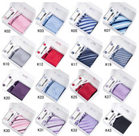 Wholesale Necktie Set Neck Tie Hanky Cufflinks Clip Kit Gift Box Gift Bag Perfect Present Men s Ties Sets Cuff Links Button