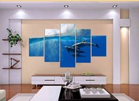 Oil Painting art waves - 5 Panel Hot Sell Modern Wall Painting Art Paint on Canvas Prints Sea great waves Elegant swimming dolphins in seawater