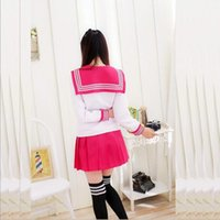 Wholesale Sexy Tie Uniforms - Hot Sale Japanese school uniforms sailor tops+tie+skirt Navy style Sexy Students clothes for Girl Plus size Lala Cheerleader clothing