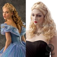 Wholesale kanekalon Best selling Gold color Women wig cosplay wig lady medium long Synthetic wave Hair Wigs with braid