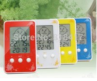 antique hygrometer - 10pcs Baby room big screen LCD smile clock thermometer hygrometer intelligent clock w temperature and humidity modern clocks